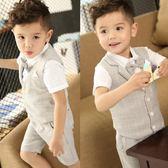 兒童小西裝套裝男童三件套韓版2018新款寶寶夏季小童婚禮花童禮服 LI2838『時尚玩家』