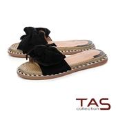 TAS 立體羊毛蝴蝶結平底涼拖鞋-經典黑