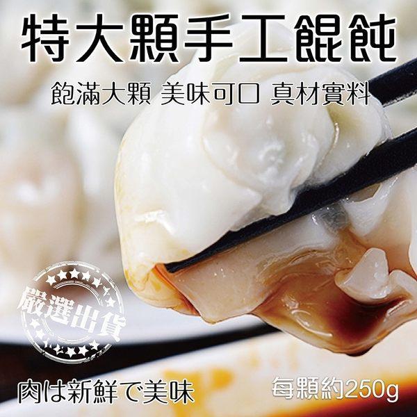 【海肉管家】特大顆手工鮮肉餛飩x1包(250g±10%/包 每包10顆入)