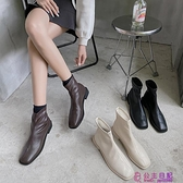 春季新款韓版靴子女單靴復古英倫風百搭切爾西靴方頭粗跟短靴超級品牌【公主日記】