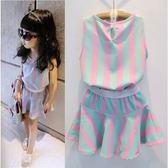 短袖套裝  韓版女童粉綠條紋背心短裙套裝 S56002