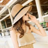 遮陽帽 可折疊大沿草帽遮陽帽子韓版夏天潮沙灘防曬太陽帽