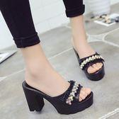 韓版時尚魚口鞋高跟拖鞋防水臺半拖鞋粗跟涼鞋女鞋