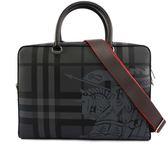 【BURBERRY】戰馬騎士London格紋手提/側背公事包(碳灰) 8005525 A1008