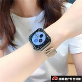 蘋果iwatch錶帶金屬Z字水鉆applewatch1/2/3/4適用【探索者戶外生活館】