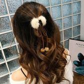 蝴蝶結水貂毛可愛氣質抓夾毛球頭飾韓國網紅森系發飾發夾頭飾女