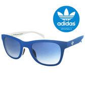 【adidas 愛迪達】經典愛迪達藍白色系三葉草LOGO太陽眼鏡/運動眼鏡#藍框(004-027-001)