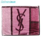 YSL秋冬新款拼接圖形保暖大毛毯禮盒(紫紅色)989208-56