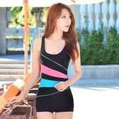 新款連體平角小胸聚攏女泳衣遮肚顯瘦