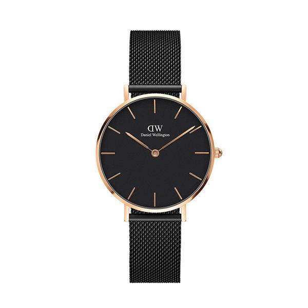 Daniel Wellington DW 手錶 32mm玫瑰金框 Classic Petite 寂靜黑米蘭金屬編織