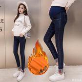 孕婦褲牛仔褲秋冬季外穿孕婦加絨打底褲麥吉良品