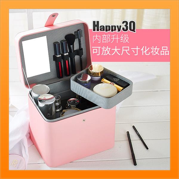 化妝包大容量雙層可攜帶簡約素色化妝師新娘秘書-米/黑/桃【AAA4763】預購