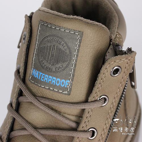 法國 Palladium Waterproof 香菇棕 皮革兩側拉鍊 防水短童靴 中童靴 NO.R2221