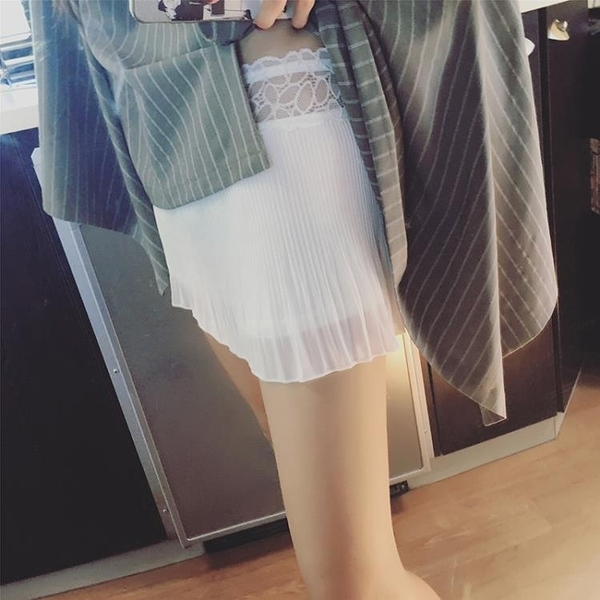 夏百褶 內搭 安全褲 寬松 百搭 蕾絲 拼接 雙層 防走光 打底褲 女保險褲 短褲