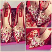 婚鞋女新款紅色高跟鞋細跟結婚禮韓版秀禾鞋敬酒中跟新娘鞋子 草莓妞妞