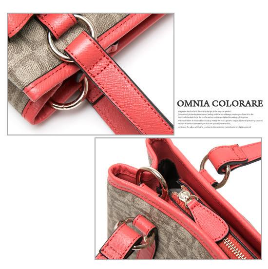 OMC - 繽紛愛心棋盤格緹花鉚釘蝴蝶結2用側肩背包 ─ 甜蜜桃