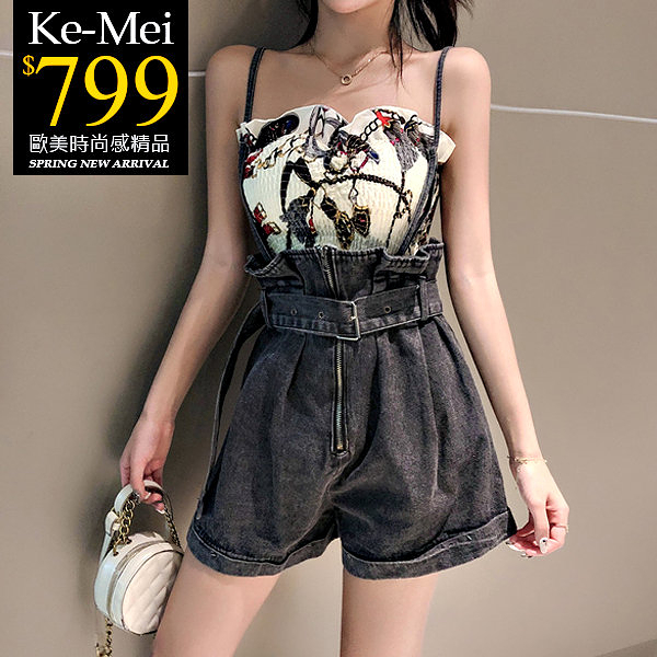 克妹Ke-Mei【ZT57801】KILL性感蘿麗鎖鏈平口背心+水洗吊帶牛仔褲套裝