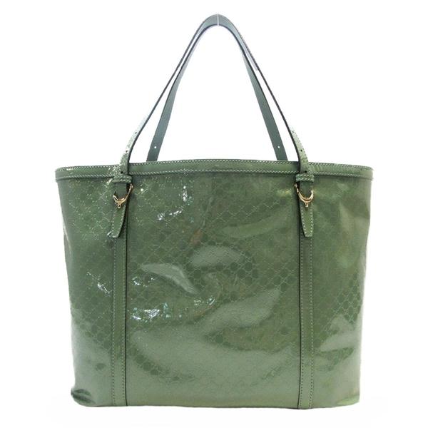 GUCCI 古馳 綠色漆皮滿版小LOGO壓紋肩背包/托特包 309613 【BRAND OFF】