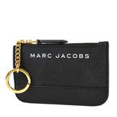 美國正品 MARC JACOBS 白色LOGO防刮皮革鑰匙零錢包-黑色【現貨】