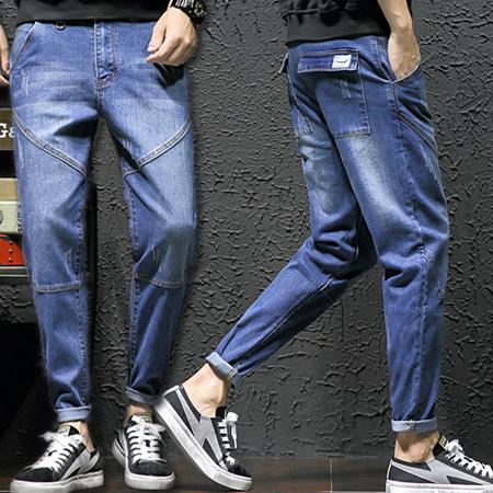 ※現貨 刷白縫線小腳哈倫工裝牛仔褲錐形褲潮流長褲 5XL碼【C323327】