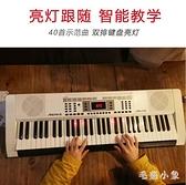 61鍵電子琴成年初學亮燈跟彈成人兒童家用幼師入門專業教學電子鋼琴LXY7677『毛菇小象』