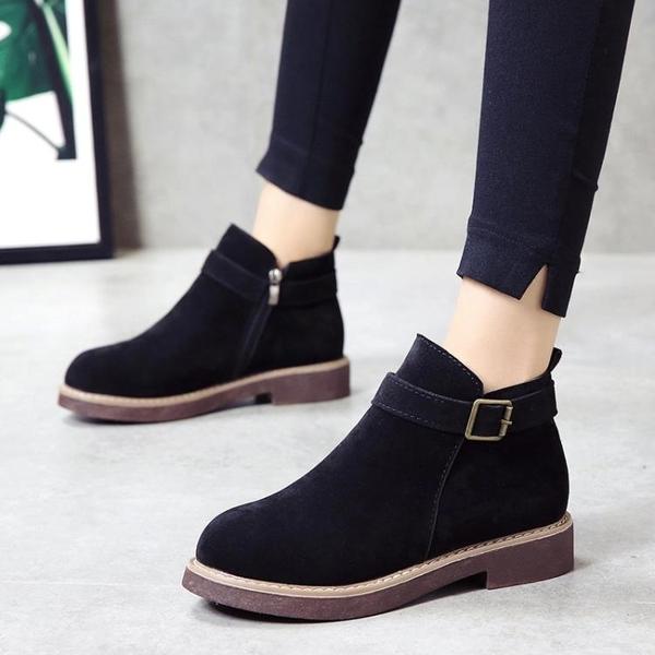 短靴女 2019秋冬新款厚底低跟韓版女鞋短靴皮帶扣馬丁靴學生絨面淑女靴子 小宅女