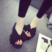 人字拖 海邊度假拖鞋女韓版夏季新款蝴蝶結坡跟涼拖人字拖高跟女鞋子涼鞋 維科特3C