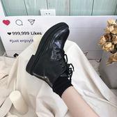 韓版馬丁靴女圓頭機車靴系帶側拉鏈短靴 ysj40 【時尚玩家】