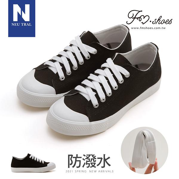 休閒鞋.防潑水無印風帆布鞋-(黑)-大尺碼-FM時尚美鞋-NeuTral.FUNKY