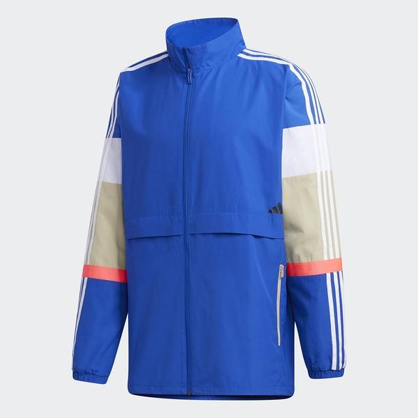 ADIDAS UB 男裝 外套 風衣 立領 口袋 休閒 訓練 撞色 拼接 三線 藍【運動世界】GL0401