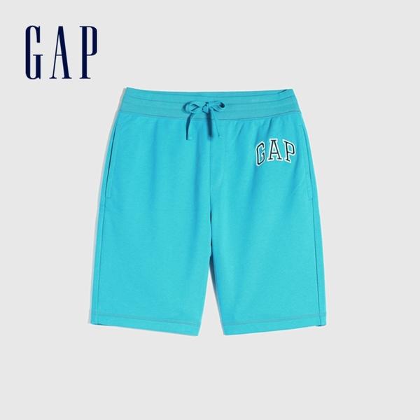 Gap男裝 碳素軟磨系列 Logo法式圈織簡約風格鬆緊休閒短褲 589665-湖藍色