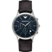 Emporio Armani 亞曼尼 Classic 都會新貴計時手錶-深藍x咖啡/43mm AR2494