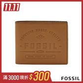 FOSSIL LEE 品牌壓紋真皮證件格零錢袋男夾-淺褐色