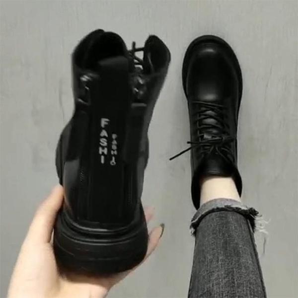 馬丁靴女潮ins瘦瘦靴英倫風女鞋秋冬2020新款黑色短靴子加絨