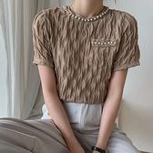 (免運)DE shop - 蕾絲圓領短袖T恤 - T-7448
