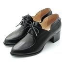 全真皮綁帶樂福粗跟踝靴-原皮黑‧karine(MIT台灣製)