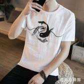 中大碼棉麻上衣t恤2019夏裝新款短袖套頭中國風潮流印花男裝 QX2804 『愛尚生活館』