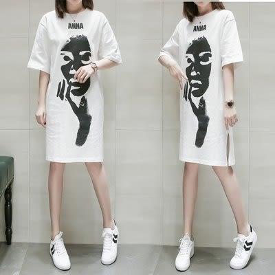 特賣款不退換短袖洋裝中長款T裙XL-5XL中大尺碼30263歐洲站打底連身裙百搭中長黑白字母印花短袖T恤