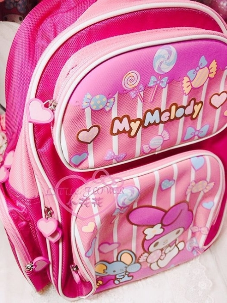 ♥小花花日本精品♥美樂蒂上學用書包可愛美樂蒂小老鼠糖果後背包收納包小朋友愛用10002902