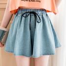 MIUSTAR 腰抽繩寬鬆大傘襬牛仔褲裙(共2色)【NH1522GW】預購