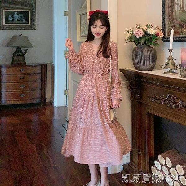 秋季碎花洋裝女裝秋季法式復古泡泡袖新款韓版收腰顯瘦氣質裙子 凱斯盾