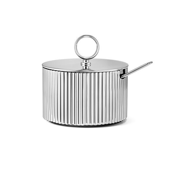 丹麥 Georg Jensen Bernadotte Sugar Bowl with Spoon 喬治傑生 瑞典王子系列 不鏽鋼 糖皿與匙 套組