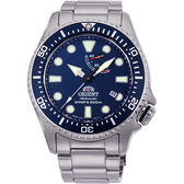 【台南 時代鐘錶 ORIENT】東方錶 RA-EL0002L 兩百米潛水能量機械錶 藍/銀 43mm