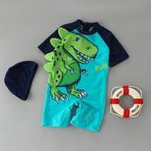 男童泳裝 兒童泳衣男童連體恐龍游褲新品男孩寶寶嬰兒海邊防曬游泳度假溫泉