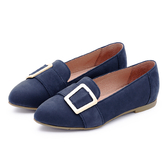 MICHELLE PARK 秋氛時尚 霧面尖頭方扣樂福鞋-深藍
