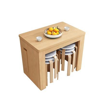 摺疊餐桌 全實木折疊餐桌小戶型家用省空間可伸縮4靠墻隱形原木色收縮枱8人 WJ【米家】