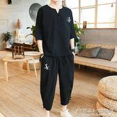亞麻短袖套裝 男士夏季棉麻寬鬆上衣T恤休閒兩件套 概念3C旗艦店