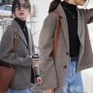 外套 韓版春季新款時尚休閒羊毛西裝女士百搭網紅款長袖西服外套