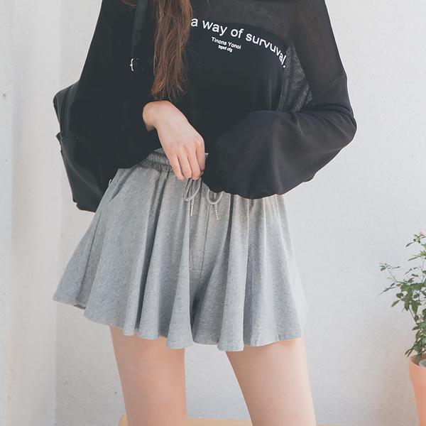 MUMU【P76993】腰部鬆緊休閒棉質顯瘦褲裙。灰/黑