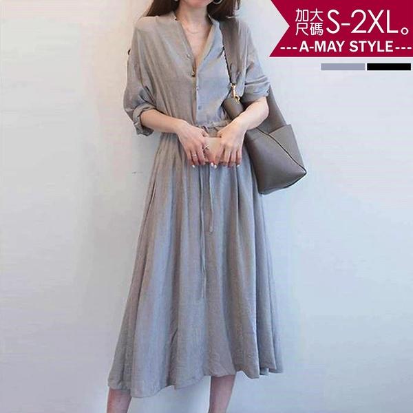 加大碼洋裝-歐風復古氣質收腰連身裙(S-2XL)